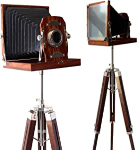 collectiblesBuy Vintage Look Wooden Folding Camera with Tripod Old Movie Prop Floor Standing Home Decor Retro Film Props Brown 65""