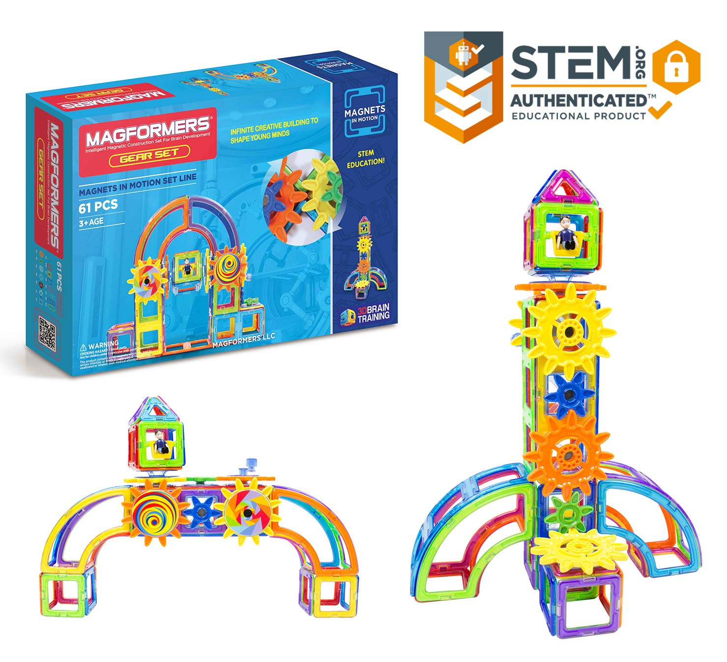 Magformers Magnets in Motion Set (61-Pieces) Magnetic    Building      Blocks, Educational  Magnetic    Tiles Kit , Magnetic    Construction  STEM Gear Set by Magformers (Image #1)