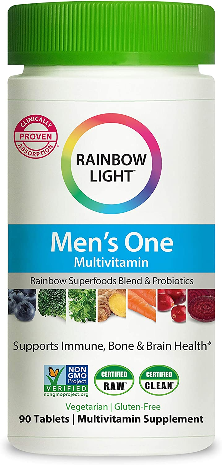 Rainbow Light Men's One Multivitamin, Vitamin C, Vitamin D, Zinc for Immune Support, Clinically Proven Absorption of 6 Key Nutrients, Non-GMO, Vegetarian & Gluten Free, 90 Tablets (Package May Vary)