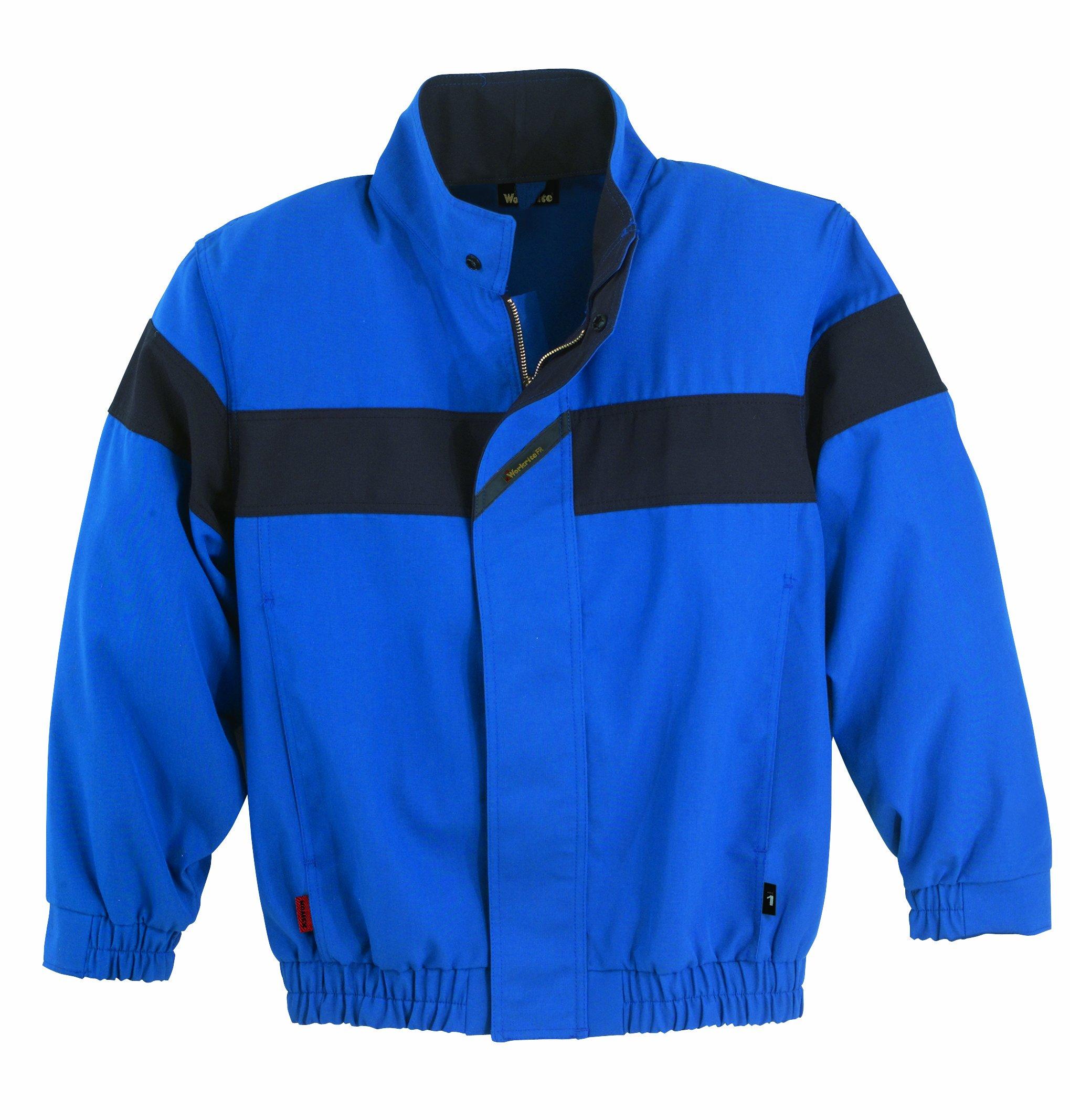 Workrite FR Flame Resistant 6 oz Nomex IIIA Work Jacket, Elastic Cuff, Large, Regular Length, Navy Blue
