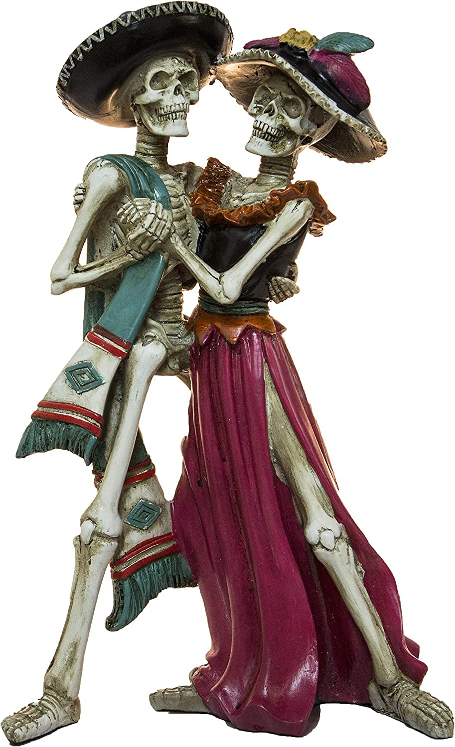 Day of the Dead Teal Pink Dancing Skeletons 12 x 2 Acrylic Decorative Tabletop Figurine