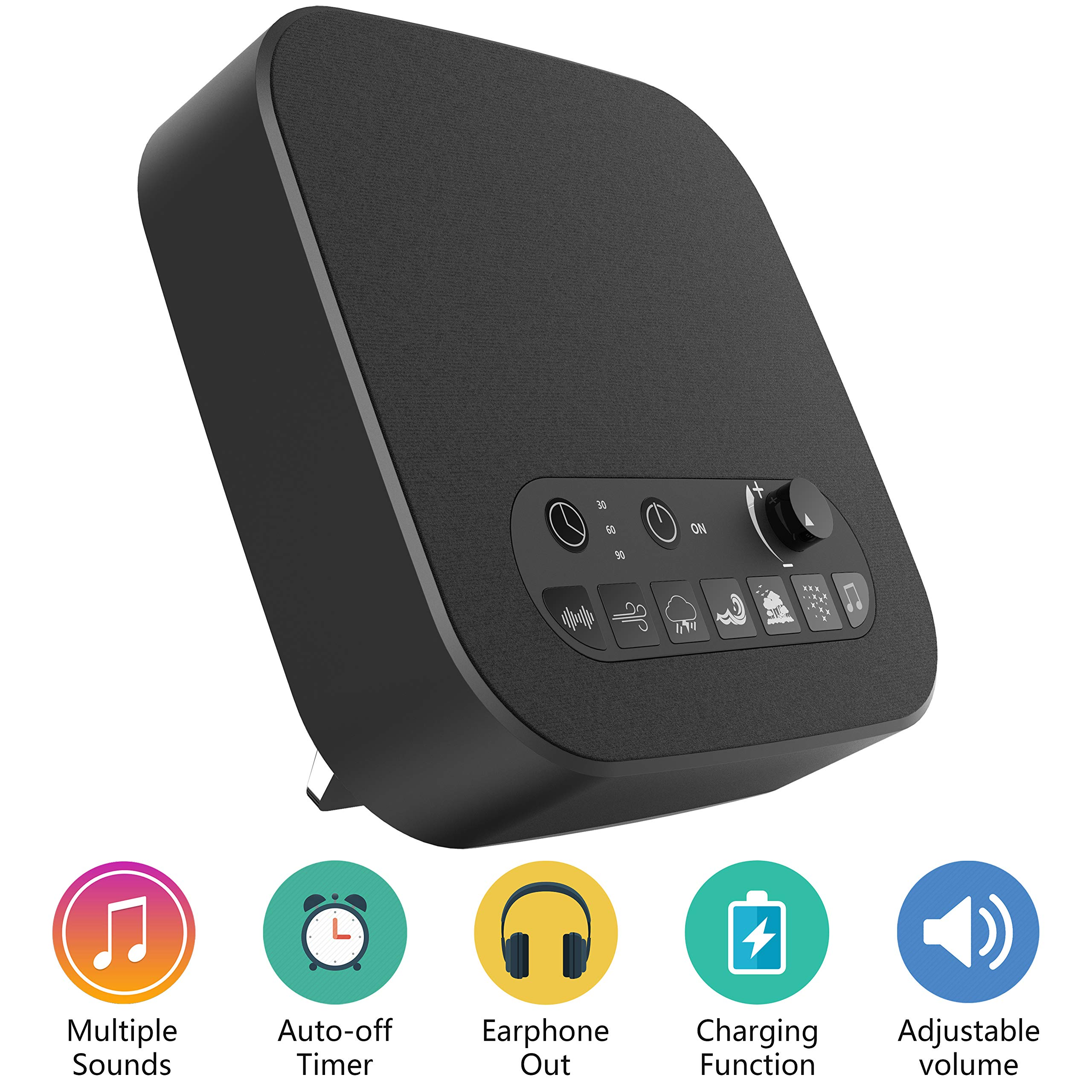 BESTHING White Noise Sound Machine with 7 Nature Sounds, USB Output Charger, Adjustable Volume, Headphone Jack and Auto-Off Timer (Black)