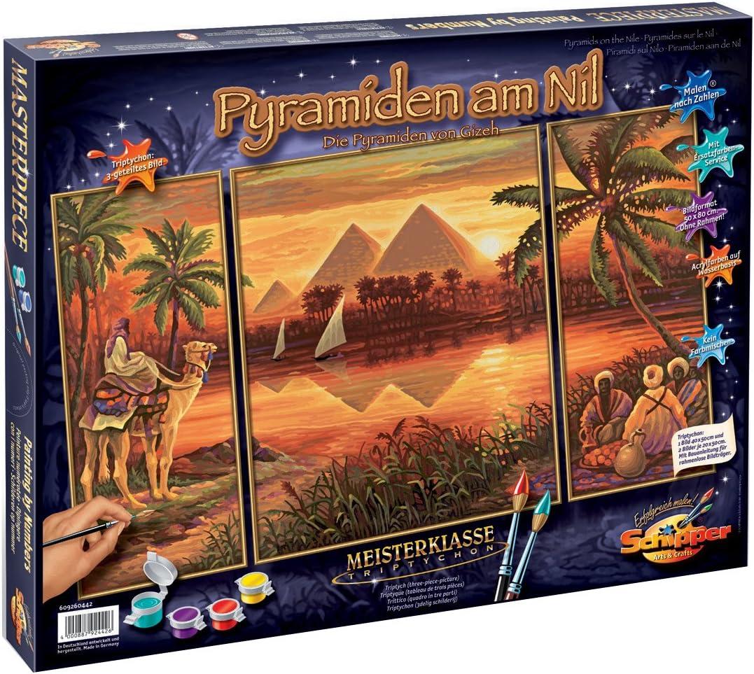 Schipper 9260442 - Pintura por números, Las pirámides a lo Largo del Nilo, 50x80 cm [Importado de Alemania]: Amazon.es: Juguetes y juegos