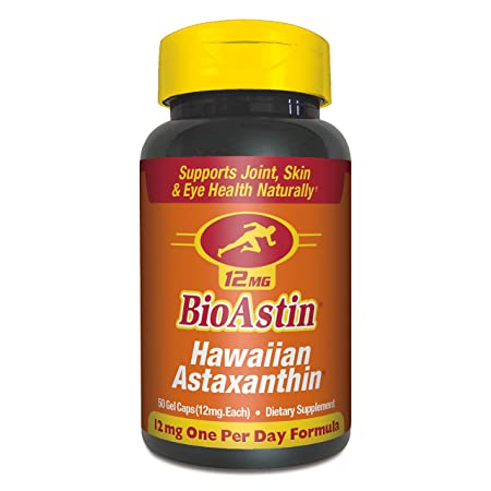 BioAstin Hawaiian Astaxanthin 12mg, 50ct – Supports Recovery from Exercise Joint, Skin, Eye Health Naturally – 100 Hawaiian Sourced Premium Antioxidant