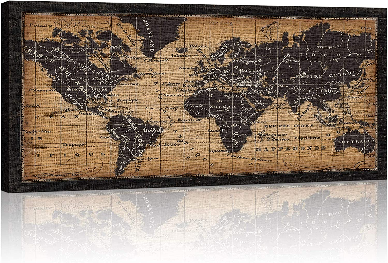 ATOBART World Map Canvas Art Wall Decor - Antique Vintage Classic Style Canvas Map of The World Large World Map Poster Canvas Framed or Living Room Home Office Decor Ready to Hang,20