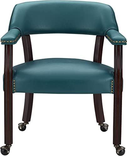 Steve Silver Tournament Teal Green Faux Leather Arm Chair
