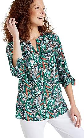 Balsamik – Blusa fluida – Mujer Imprimé Vert 56: Amazon.es: Ropa y accesorios