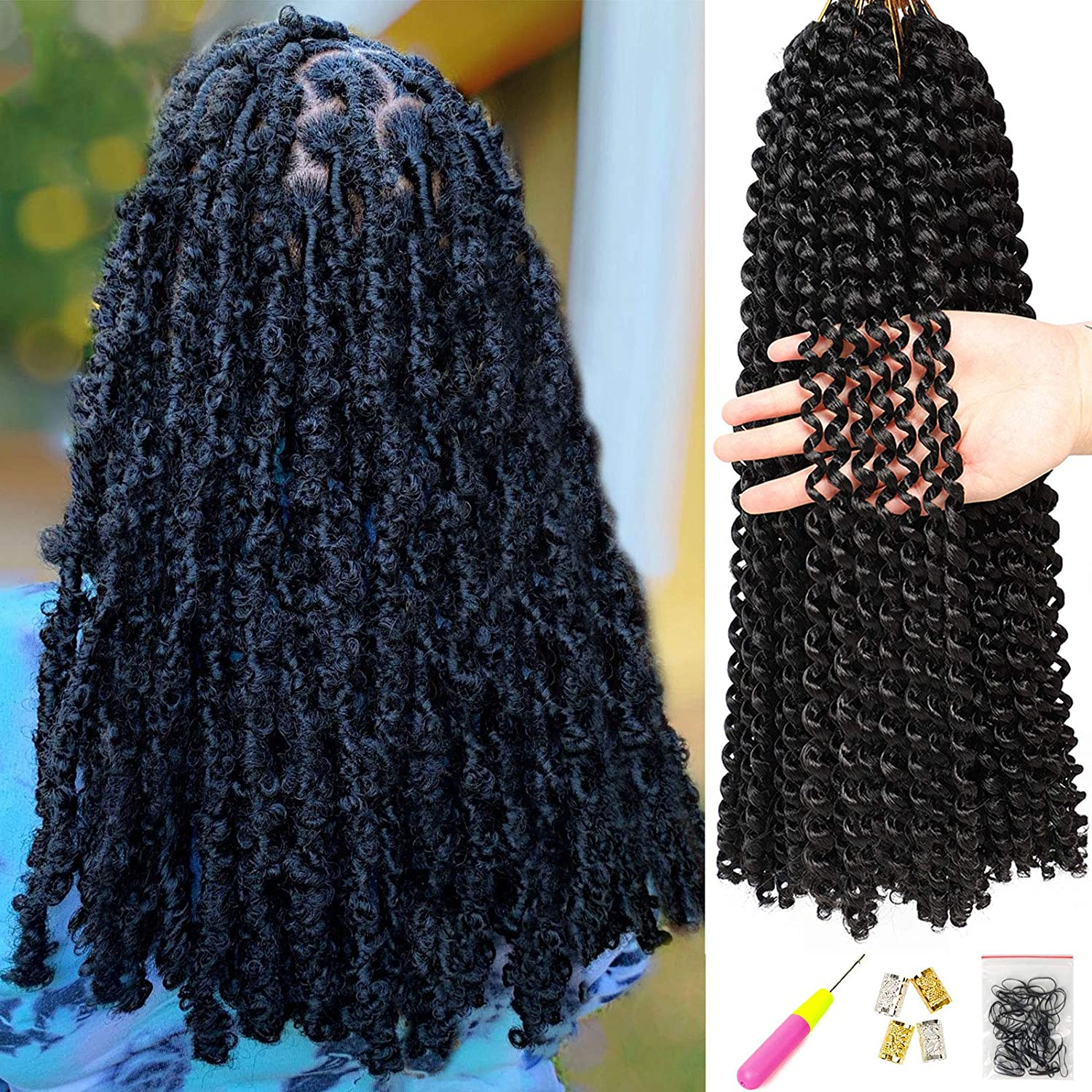 Amazon Com 6pcs Passion Twist Hair 18 Inch Braiding Water Wave Crochet Hair For Disstressed Butterfly Locs Crochet Hair Bohemian Braids Passion Twist Crochet Braiding Hair Extensions 1b Beauty
