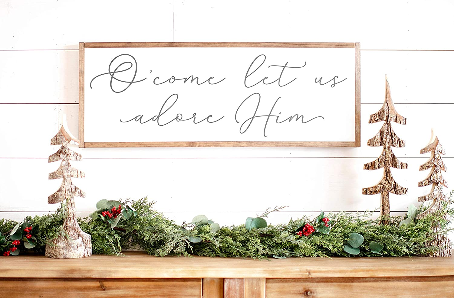 O Come Let Us Adore Hime Sign Framed Christmas Signs Christmas Wall Signs Oh Come Let Us Adore Him Wood Framed Signs 6x20inch