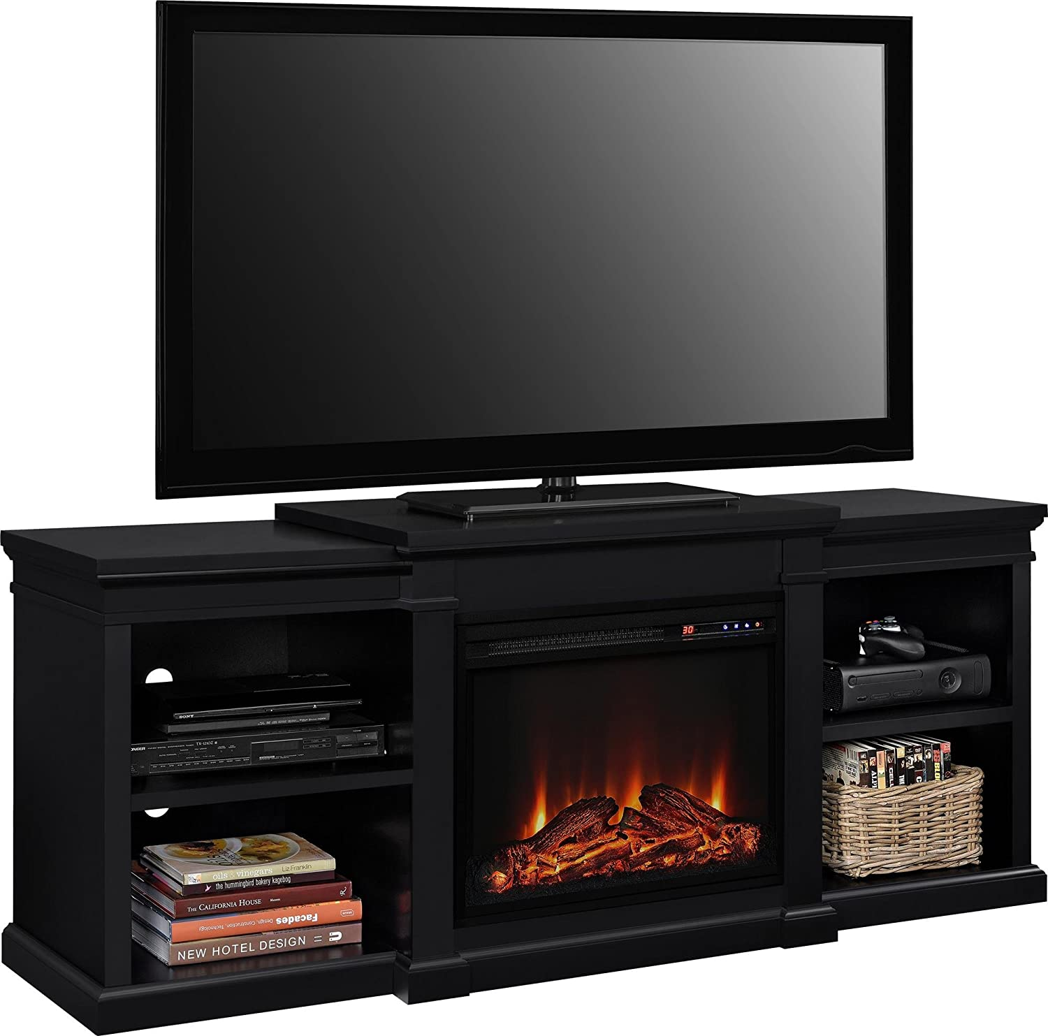 Black Ameriwood Home Manchester Electric Fireplace TV Stand for TVs up to 70