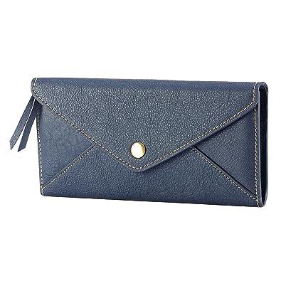 af5d3617b864 Amazon   F.R BASIC 財布 レディース 長財布 二つ折り 二つ折り財布 本革 財布 革 長 個性的 ブルー 人気 おしゃれ かわいい  簡潔 財布 デザイン 20代 30代 40代 革 ...