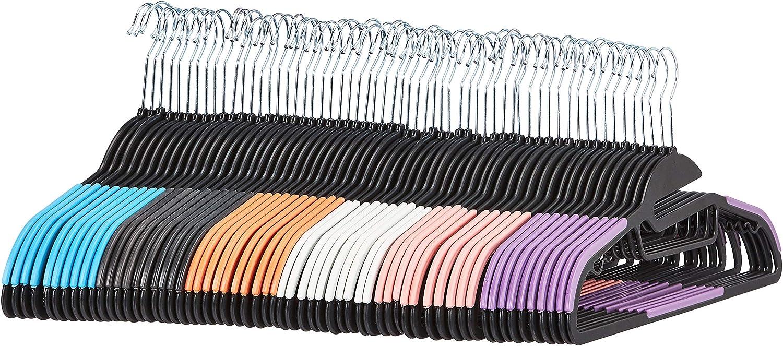 AmazonBasics - Perchas de plástico antideslizantes para ahorrar espacio con 10 pinzas de dedo, 6 colores, 60 unidades