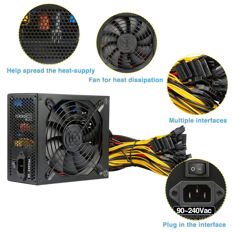 TroheStar Power Supply 1600W 80+ Gold Mining Machine Multichannel PSU 90%  High Efficiency For Antminer Bitcoin Ethereum A3 D3 R4 S9