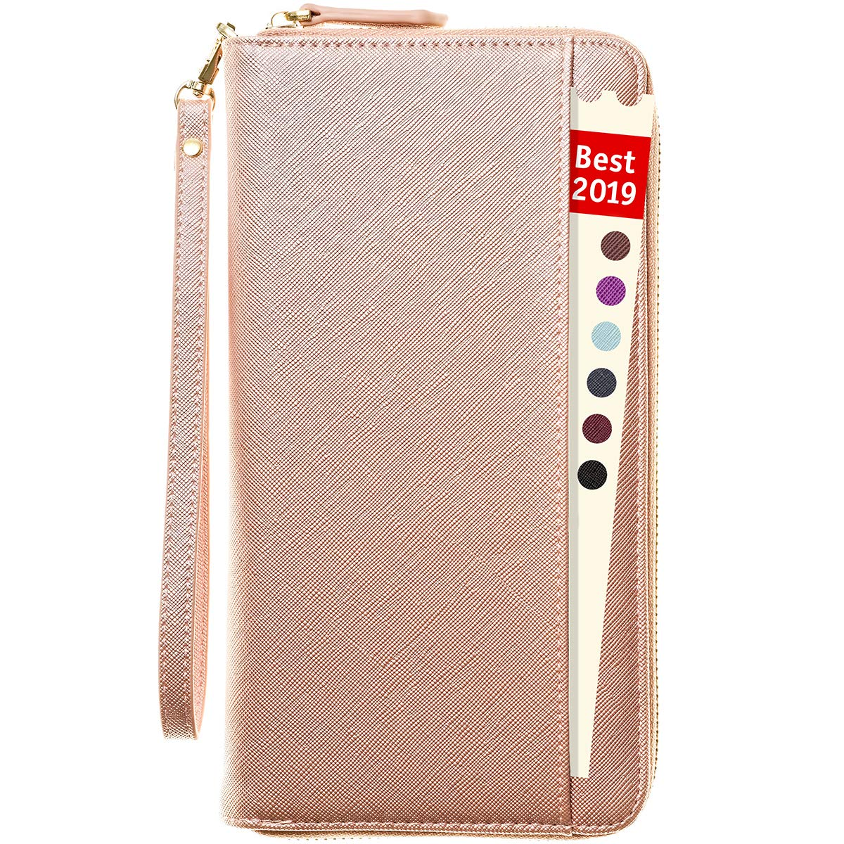 2ee007b776d9 Travel Document Organizer - RFID Passport Wallet Case Family Holder Id  Wristlet (Rose Gold)