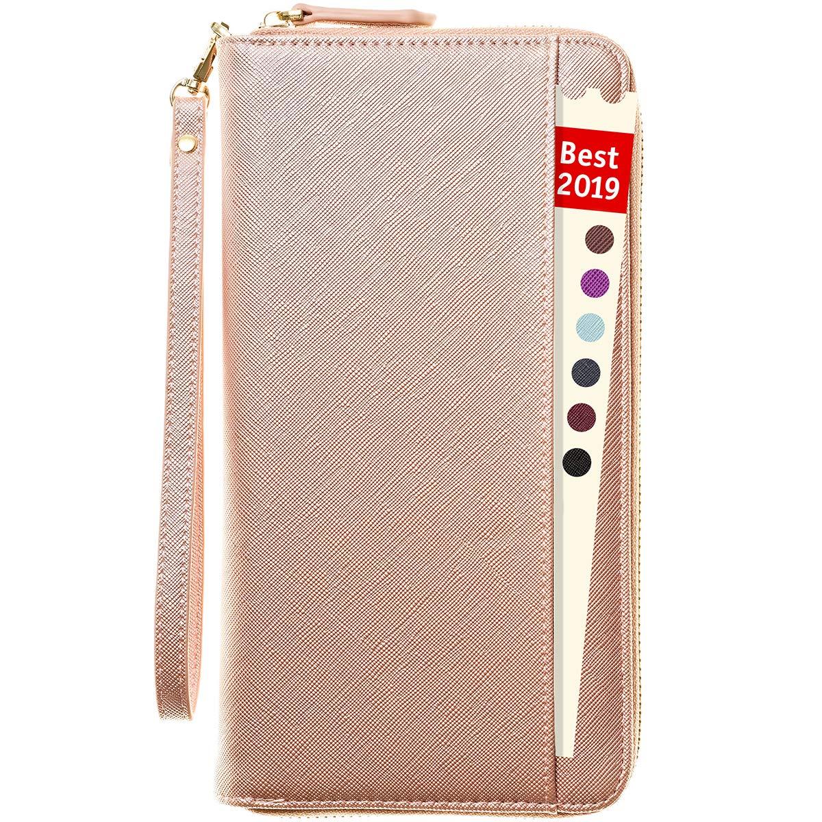 Travel Document Organizer - RFID Passport Wallet Case Family Holder Id Wristlet (Rose Gold) by Apadi