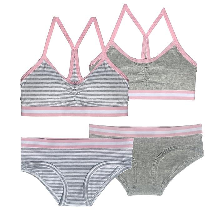 23e948763b0 Popular Girls Matching Cotton Racerback Bra and Underwear Sets (2 ...