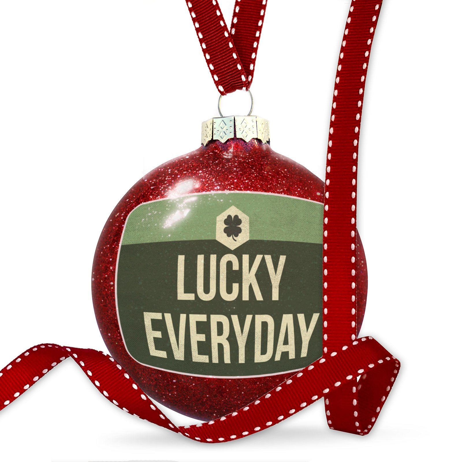 Christmas Decoration Lucky Everyday St. Patrick's Day Vintage Four Leaf Clover Ornament by NEONBLOND
