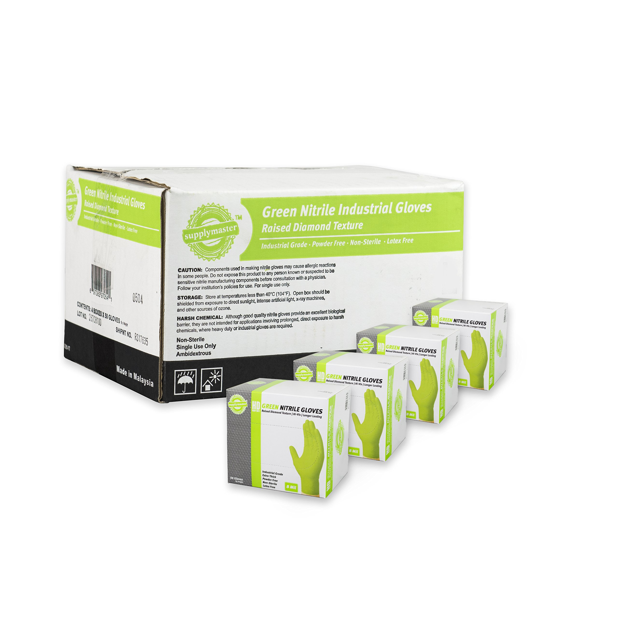 SupplyMaster - SMDTGN8XL-BX - Diamond Texture Nitrile Gloves - Disposable, Powder Free, Industrial, 8 mil, XLarge, Green (Box of 50)