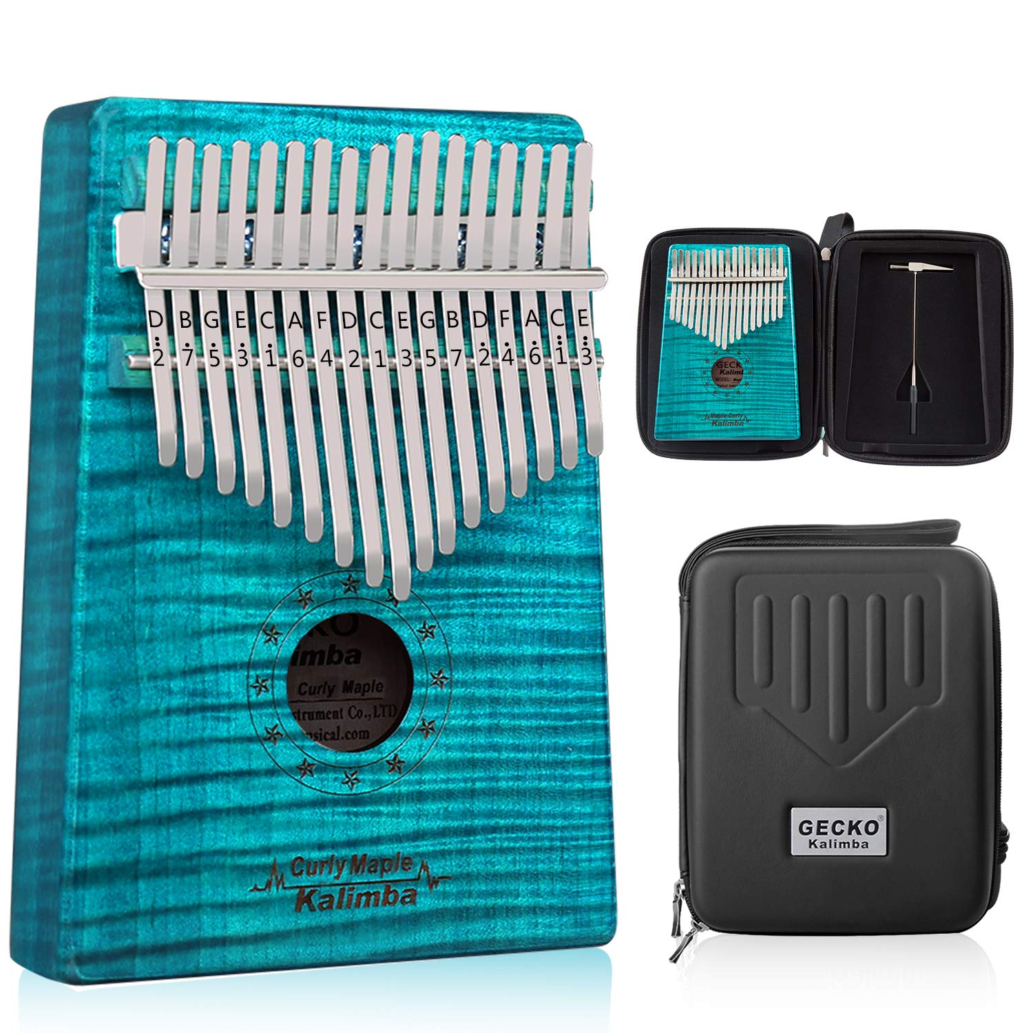 GECKO Kalimba 17 Key Thumb Piano with Hardshell Case Study Instruction Song Book Tuning Hammer for Beginners C Tone Tuned (Blue) by MYTTLELE (Image #1)
