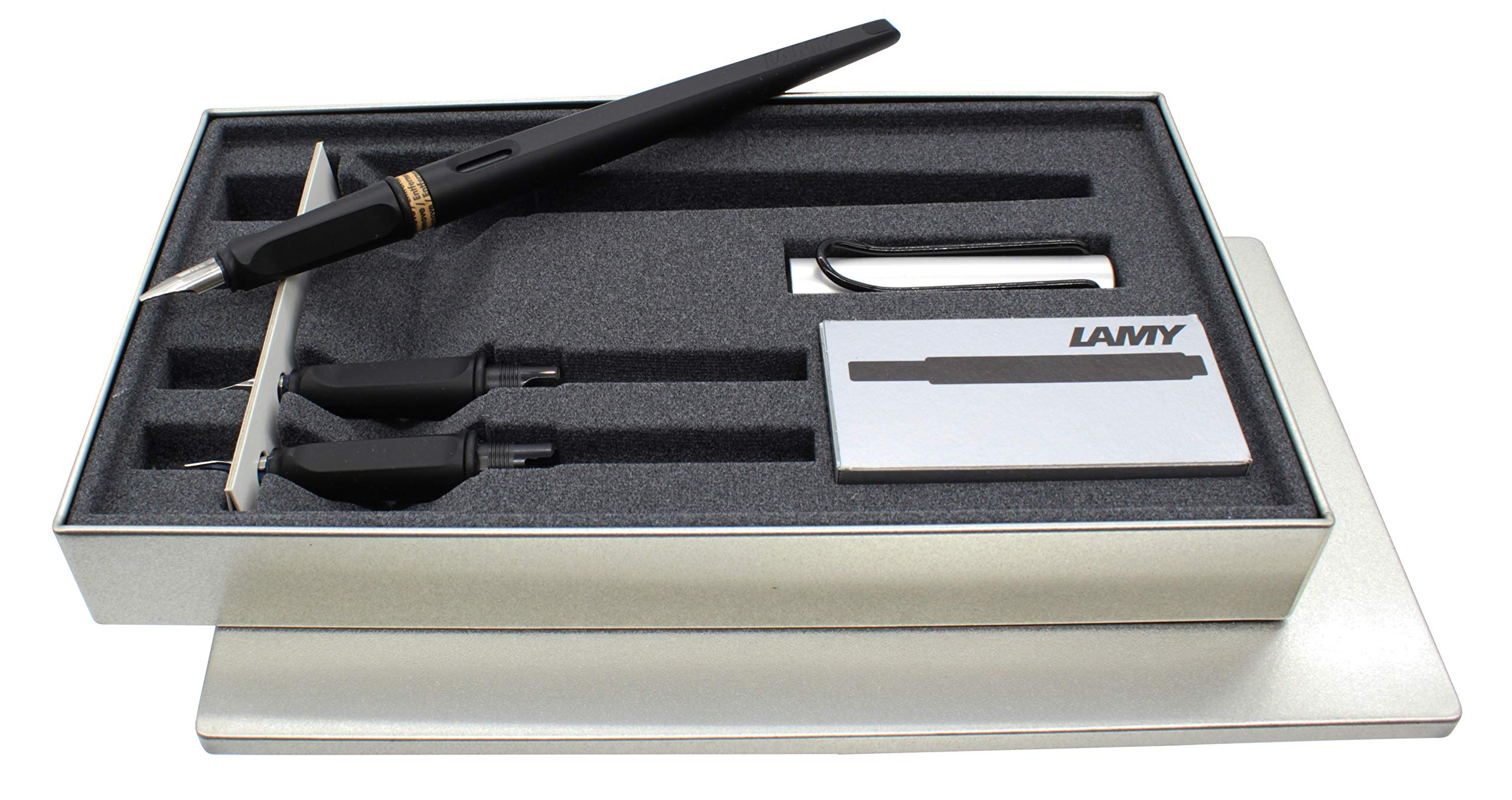 LAMY Joy AL 011 Calligraphy Set in Black and Aluminium with Black Ink Cartridges by Lamy