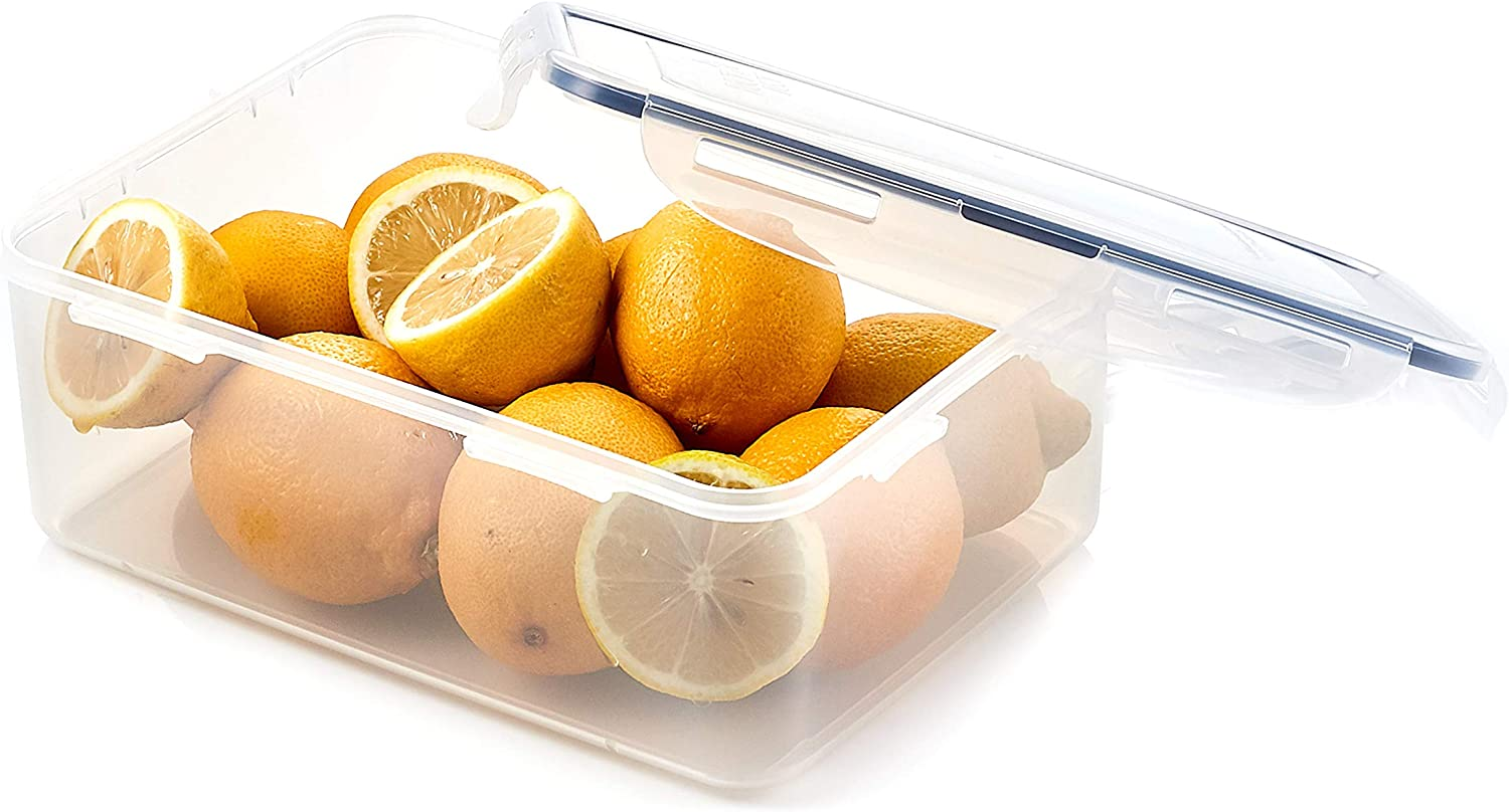 LOCK & LOCK Easy Essentials Food Storage lids/Airtight containers, BPA Free, Rectangle-88 oz-for Rice, Clear