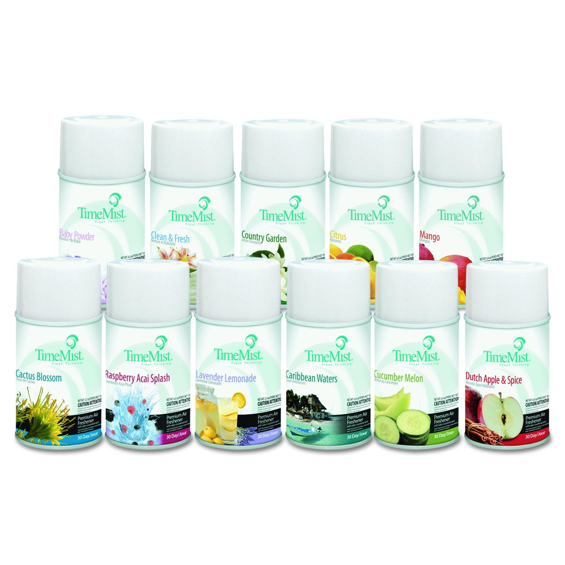 TimeMist 1043978 Fragrance Dispenser Refills, Assorted Fragrances, 6.6oz (Case of 12)