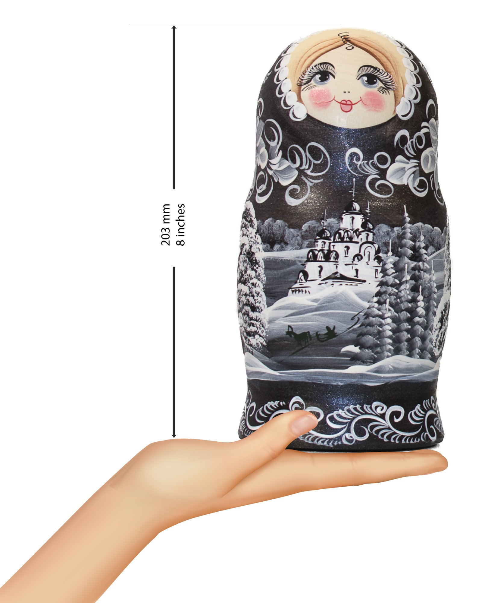 Russian Nesting Doll - ''Winter`s Tale'' - Hand Painted in Russia - MOSCOW KREMLIN GIFT BOX - Wooden Decoration Gift Doll - Traditional Matryoshka Babushka (8`` (7 dolls in 1), Silver Night) by craftsfromrussia (Image #8)