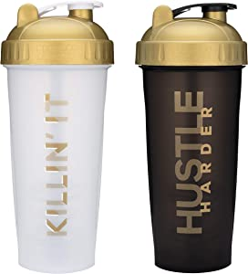 Motivational Quotes on Performa Perfect Shaker Bottle, 28 Ounce Classic Protein Shaker Cup, Dishwasher Safe, Perfect Gym Fitness Gift (Two Pack - Killin' It & Hustle)