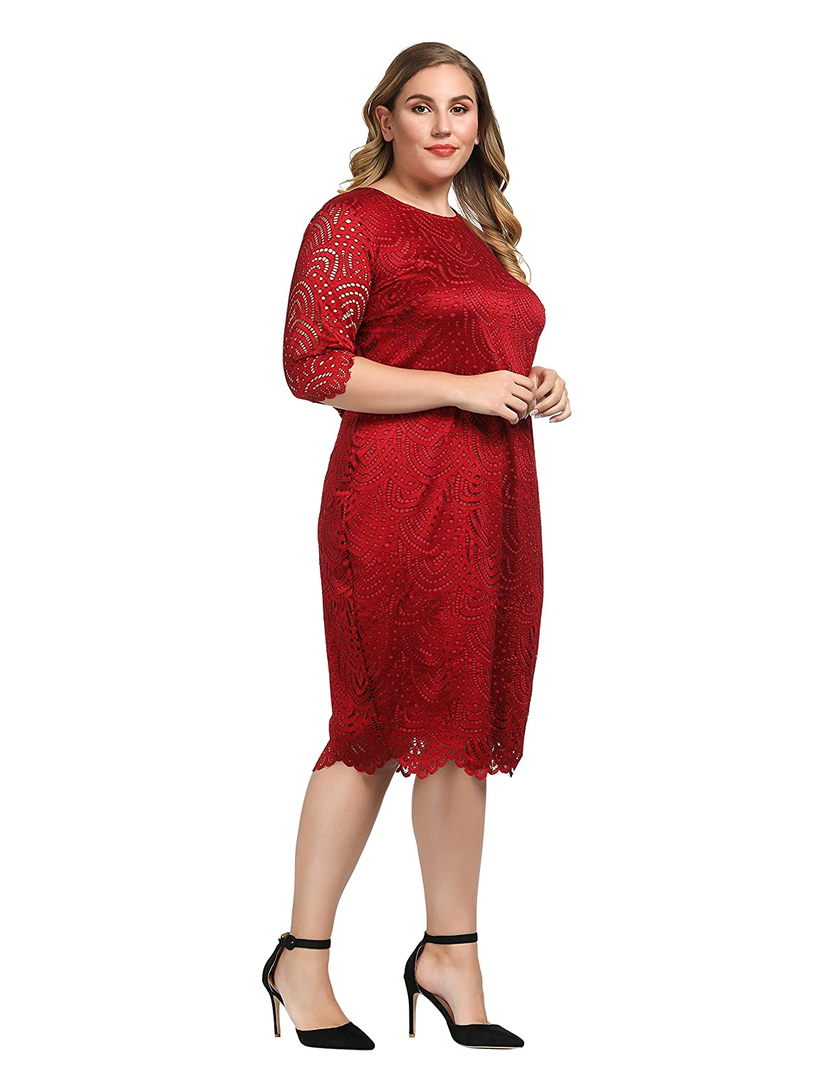 7b7d0114b29 Chicwe Women s Stretch Lined Plus Size Lace Shift Dress with Scalloped Hem  and Cuff