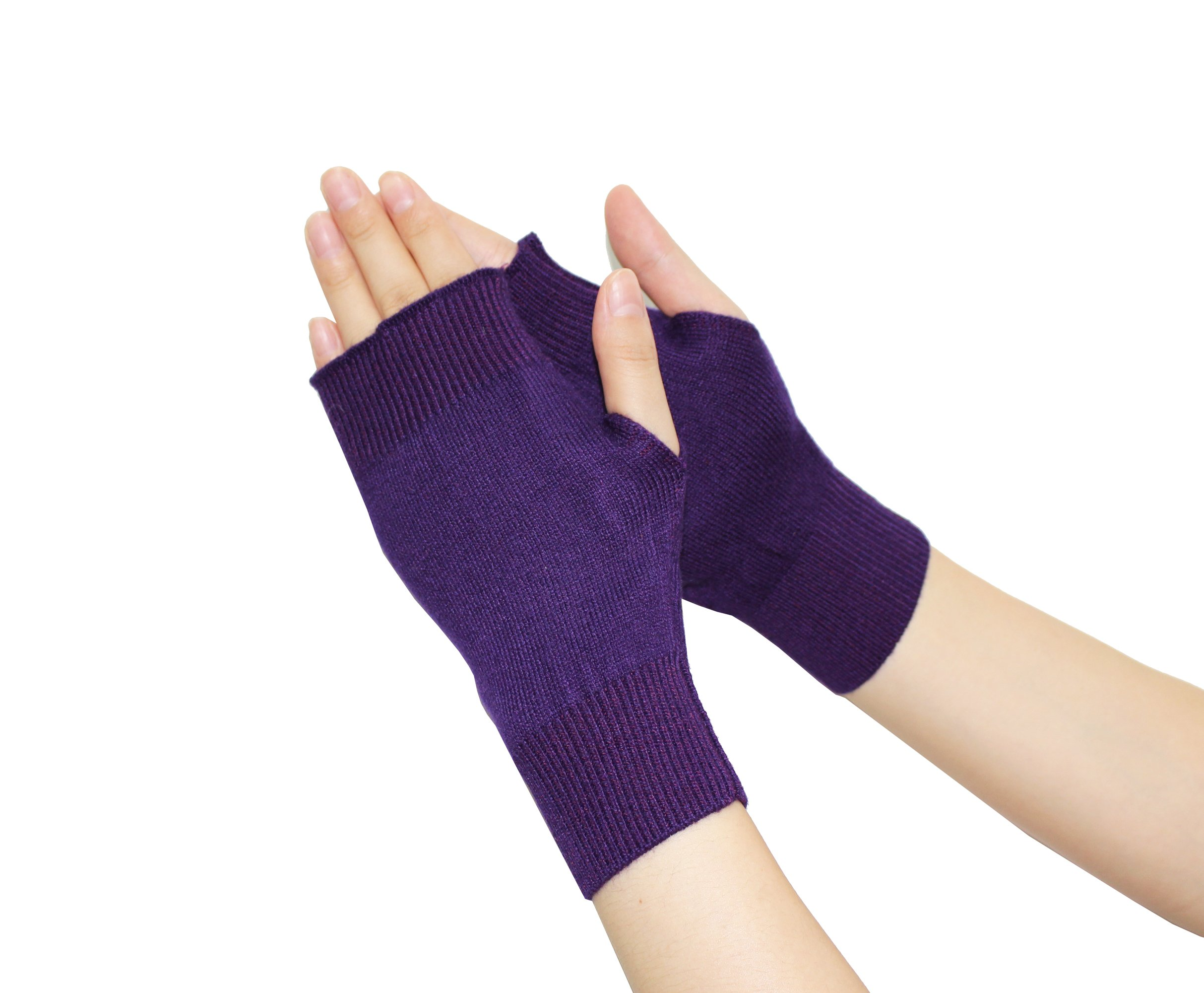 Olyer Winter Warmer Gloves Stretchy Knitted Cashmere Fingerless (Purple)