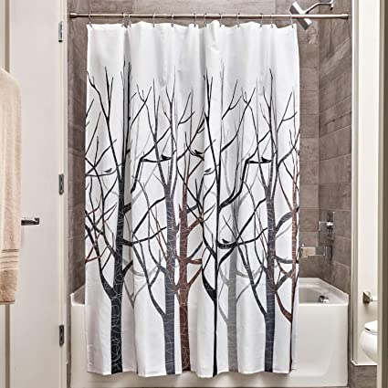 InterDesign Forest Fabric Shower Curtain 72 X Black Gray