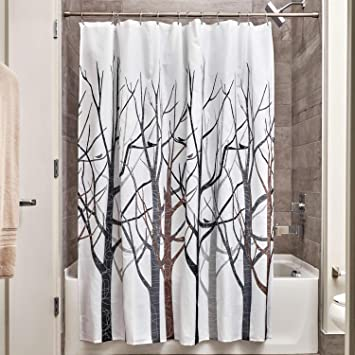 Amazoncom Interdesign Forest Fabric Shower Curtain 72 X 72 Black