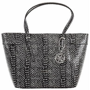 b552c13ae5b9 GUESS Women s Delaney Small Classic Tote Black Multi Handbag  Handbags   Amazon.com