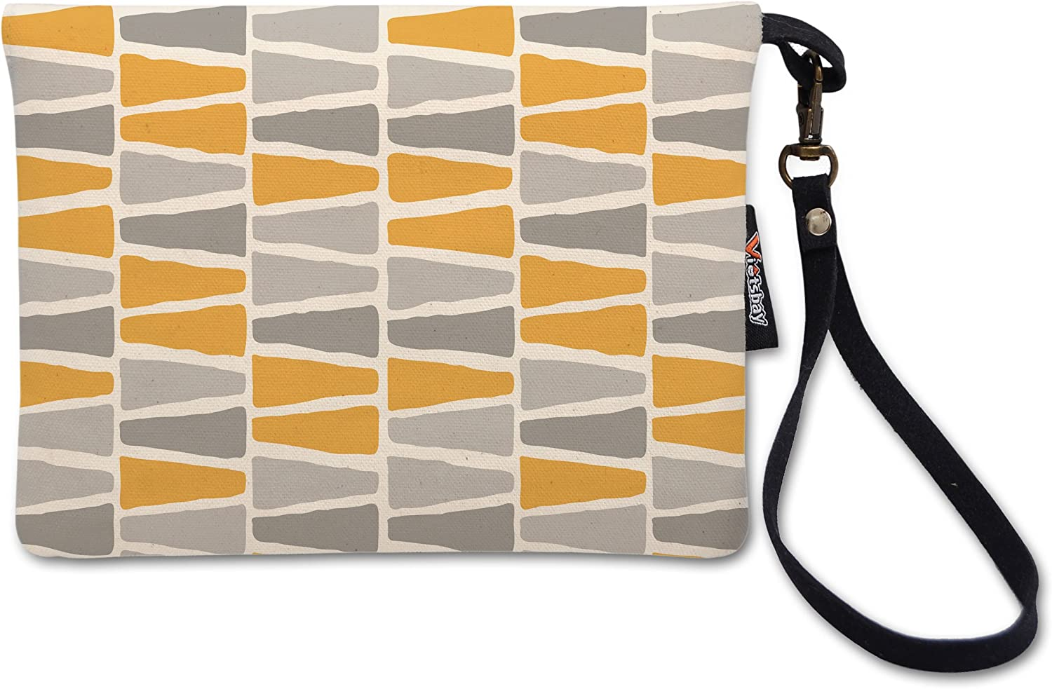 Pastel Triangle Pattern Printed Canvas Clutch Purse with Wristlet Strap WAS/_12