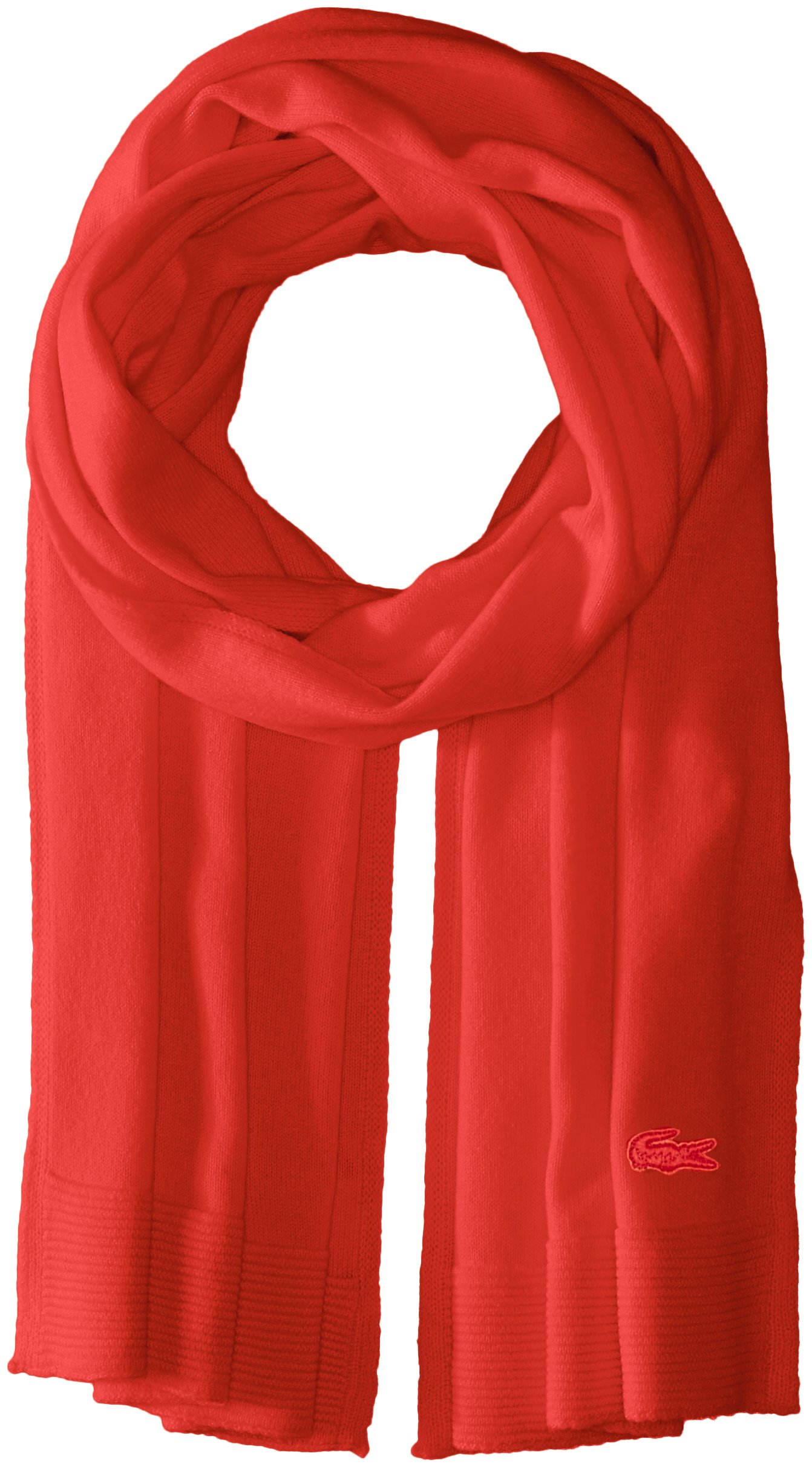 Lacoste Women's solid Fine Jersey Cashmere Scarf, Regal Red, One Size