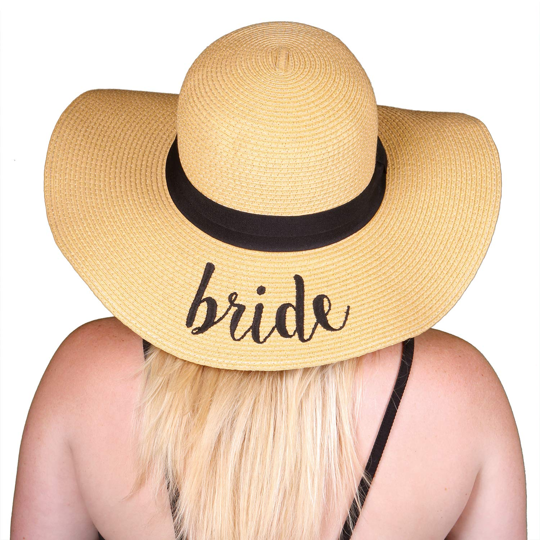 1 Bride Funky Junque Women's Bold Cursive Embroidered Adjustable Beach Floppy Sun Hat