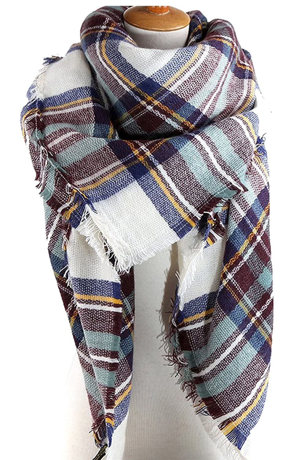 71f6c75997 Women s Winter Soft Plaid Tartan Checked Scarf Large Blanket Wrap Shawl at  Amazon Women s Clothing store