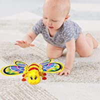 Kiddale Beautiful Battery Operated Musical Crawling Bee with Flashing Lights, Sweet Lullaby, Non-Toxic- A Fun Musical Educational Toy for Kids(6 Month to 2 Years), Toddler and Babies-Yellow