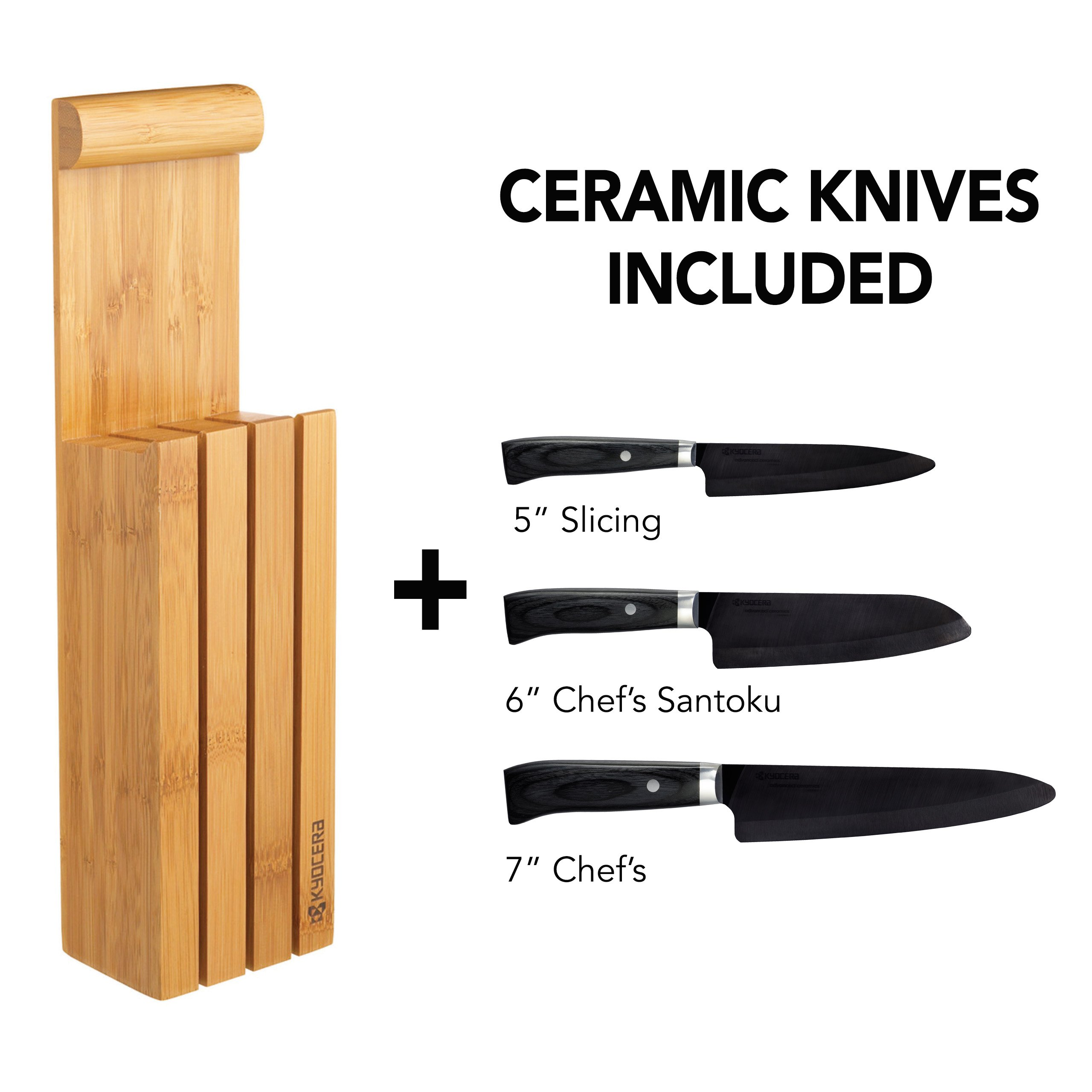 Kyocera 4-Piece Essential Block Set-Includes 3 Kyocera Ceramic Knives and Bamboo Block, Limited Series Handcrafted Pakka Wood handles w/ Black Blades