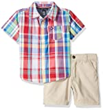 Tommy Hilfiger Baby Boys 2 Pieces Shirt Shorts Set, red/Blue/Lime Plaid, 18M