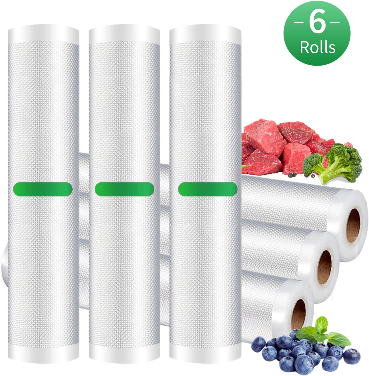 Vacuum Sealer Rolls,Beleeb Sous Vide Bags 6 Rolls(20cm x 300cm & 28 x 300cm) with Food Grade Materials,BPA Free,Puncture Prevention for Food Saver Sealer Vac Storage Bag Meal Prep