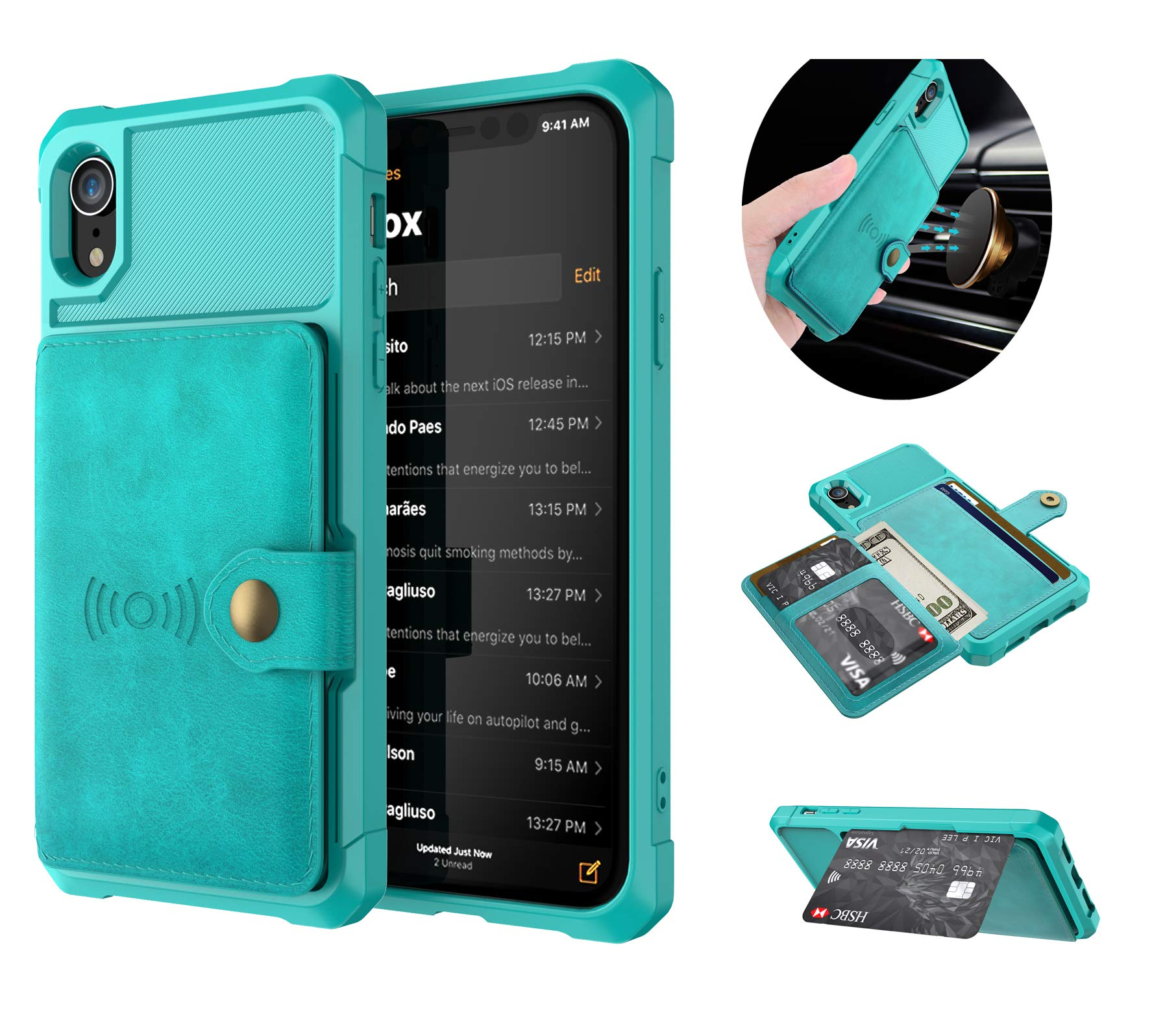 Tznzxm iPhone Xr Wireless Charging Wallet Case with Credit Card Holder Kickstand Rubber Buttons [Work with Magnetic Car Mount] Durable Flip Shockproof Protective Cover for Apple iPhone Xr Mint Blue by Tznzxm