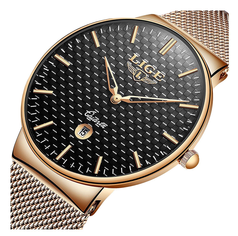 ファッションカジュアルスポーツビジネスカレンダー防水メンズアナログクォーツスチールメッシュバンドWrist Watches Rose Gold Black B07DF9TW41Rose Gold Black
