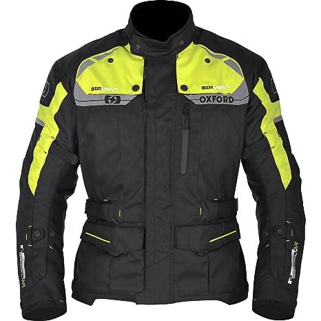Oxford Brooklyn para hombre impermeable chaqueta de Moto textil – Negro/Fluo