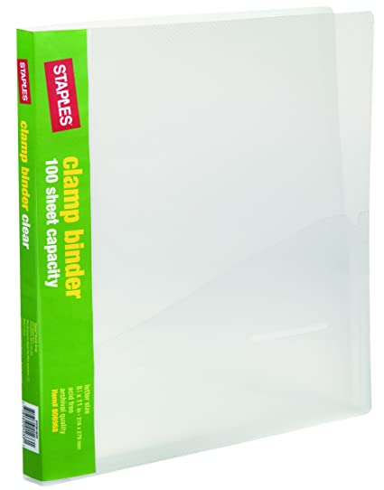 amazon com staples clamp binder clear office products