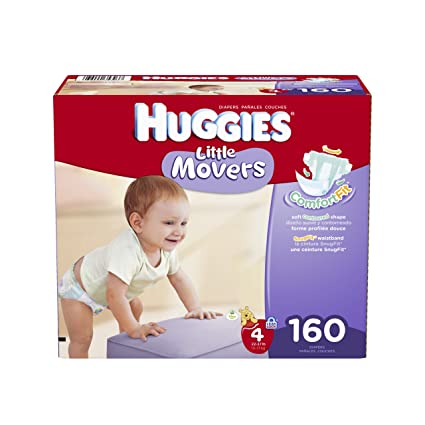 Huggies Little Movers Diapers Economy Plus, Size 4, 160 Count (packaging may vary