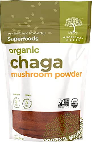 Ancestral Roots Organic Chaga Mushroom Powder – 100 Pure, USDA Certified Organic Chaga Mushroom Powder 4oz