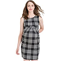 bce5472a98d LaClef Women s Knee Length Midi Maternity Dress with Front Pleat