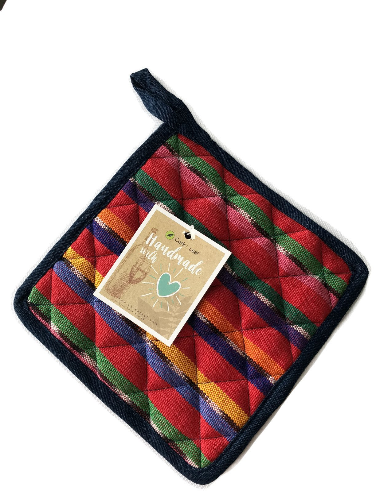 Cork & Leaf Handmade Colorful Cotton Thick Potholders with A Loop for Hanging- Heat Resistant Pot Holders for Cooking and Baking. Made in Guatemala & Fair Trade (Colorful Green/Red)