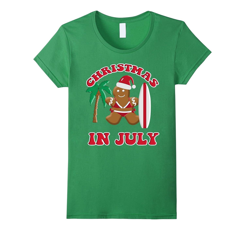Christmas In July Gingerbread Cookie Bikini Surfboard Tee
